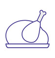 line delicious chicken food roast taste vector image vector image