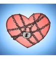 Locked heart with chains emblem vector image vector image