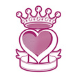 Loving heart artistic with king crown vector image vector image