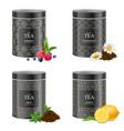 realistic blak tea tins set vector image vector image
