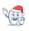 santa tooth character cartoon style vector image vector image