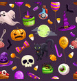 seamless pattern with cartoon halloween attributes vector image