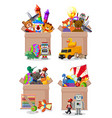 set boxes full toys on white background vector image vector image