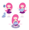 set girl dressed in a dress with a variety of vector image vector image
