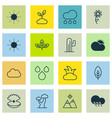 set of 16 ecology icons includes oak landscape vector image vector image
