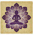 silhouette of meditating girl in yoga pose on vector image vector image