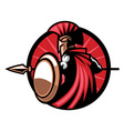 spartan mascot with spear weapon vector image vector image