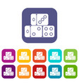 three dice cubes icons set vector image vector image