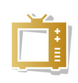 tv sign golden gradient icon vector image vector image