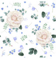 white rose and blue flower floral pattern vector image vector image