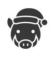 wild boar wearing santa hat silhouette icon design vector image vector image