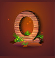 wooden letter q decorated with grass vector image