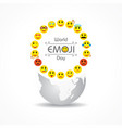 world emoji day greeting - 17 july vector image
