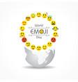 world emoji day greeting - 17 july vector image