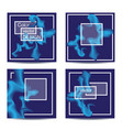 set of four square cards abstract banners with vector image