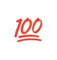 100 hundred emoticon icon 100 emoji score vector image