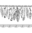 Background with feathers and Pattern brush vector image vector image