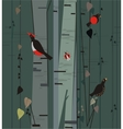 birch grove with birds vector image vector image