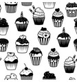 black and white cupcakes seamless pattern vector image