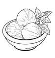 bowl of matcha tea ice cream scoops vector image