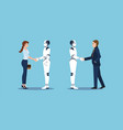 business handshake with business human and robot vector image vector image