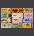 car and horse racing retro tickets vector image vector image