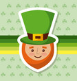 cartoon leprechaun with hat and beard clover vector image vector image