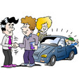 cartoon of a family there has agreed a deal to vector image vector image