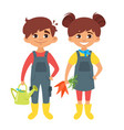 children in farm costumes vector image vector image