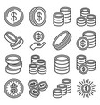 coins icons set on white background vector image