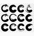 collection natural brush strokes circle vector image