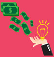 concept bulb light idea exchange money vector image vector image