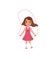 cute preschooler girl jumping with skipping rope vector image