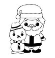 cute santa claus with snowman kawaii characters vector image