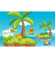 duck and ducklings on island vector image vector image