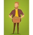 farmer with a basket in hands harvest vector image