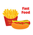 fast food hot dog french friesflat style vector image