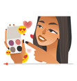 female beauty vlogger with eye shadows in hands vector image vector image