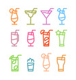 flat icon design cocktails icons isolated vector image