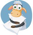 funny cartoon sheep holding a pillow vector image vector image