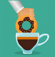 hand holding donut with coffee cup vector image