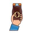 Hand human with coffee toast bag icon