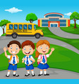 happy school children in front of the school vector image vector image