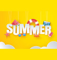 hello summer with decoration origami hanging vector image vector image