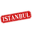 istanbul red square grunge retro style sign vector image vector image