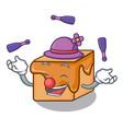juggling caramel candies mascot cartoon vector image vector image