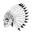 monochrome of stylized skull wearing native vector image
