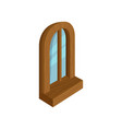 old wooden arched window with blue glass modern vector image vector image