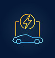 outline electric car colorful icon on dark vector image vector image
