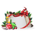 paper scroll with red bow candles and christmas vector image vector image